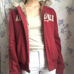 Faux fur lined zip up red hoodie